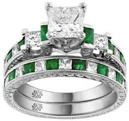 claddagh engagement ring set 2 80 carat corina emerald engagement ring wedding band set