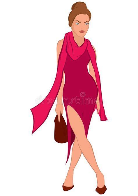 jovem mulher dos desenhos animados no vestido cor de rosa e no len 231 o cor de rosa ilustra 231 227 o do