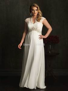 lace cap sleeve chiffon empire waist plus size maternity With chiffon plus size wedding dress
