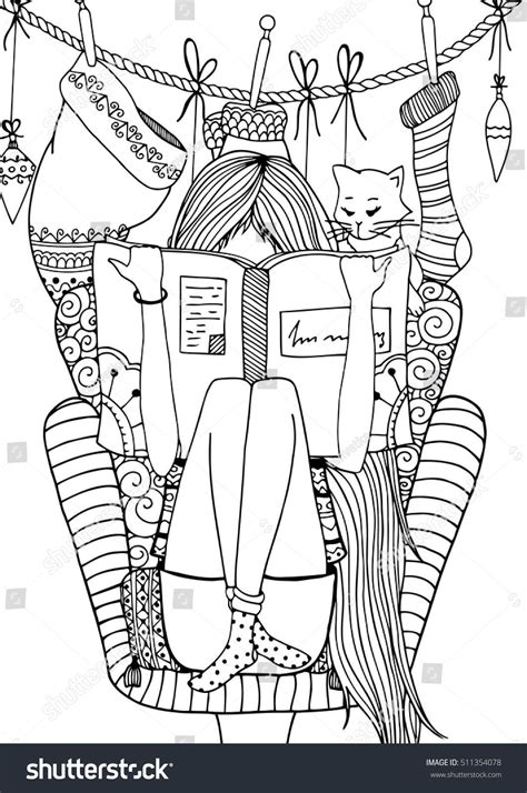 vector illustration zentangl girl sitting   chair