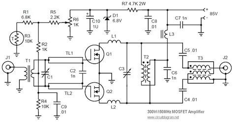 Mosfet Linear Amplifier Mhz Circuit Schematic