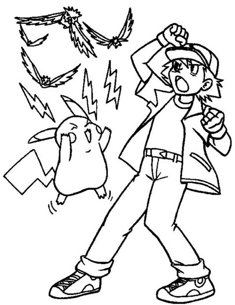 ash ketchum  pikachu attack  electricity  pokemon coloring page coloring sky