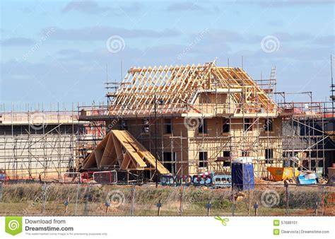 New Build House With Roof Rafters And Scaffolding