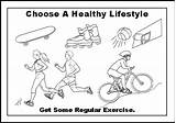 Healthy Lifestyle Living Coloring Pages Exercise Health Sheets Stay Loss Weight Heart Words Staying sketch template