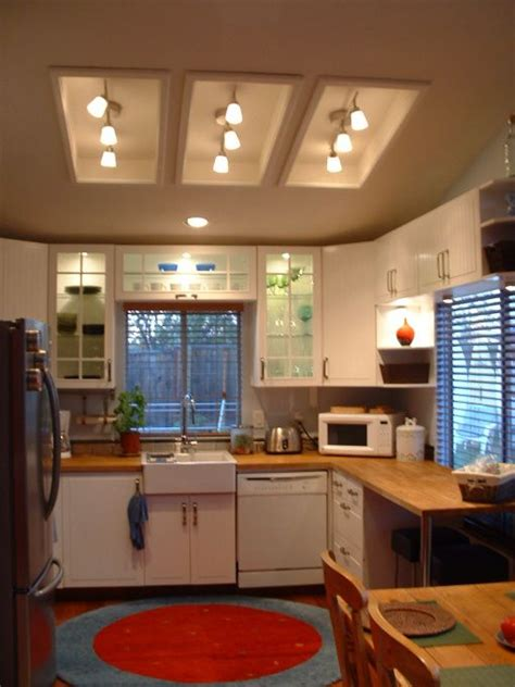 How to remove fluorescent ceiling light box. remodel flourescent light box in kitchen   ... light fixtures in the old fluorescent light boxes ...
