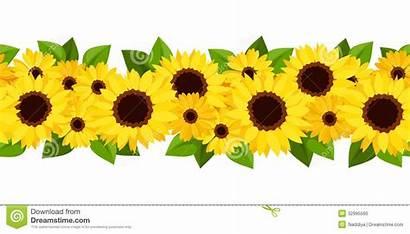 Sunflowers Horizontal Background Clipart Girasoles Flowers Seamless
