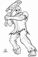 Jason Voorhees Coloring Pages 13th Mask Friday Splatterhouse Drawing Cartoon Myers Michael Horror Printable Illmosis Draw Rick Character Getdrawings Taylor sketch template