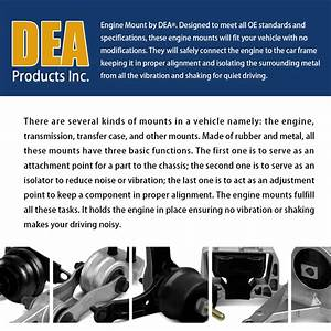 Dea 1pc Manual Transmission Mount Rear Right For 2002