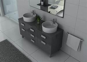 Meuble Salle De Bain Gris : meuble double vasque gris taupe meuble 2 vasques moderne dis911gt ~ Preciouscoupons.com Idées de Décoration
