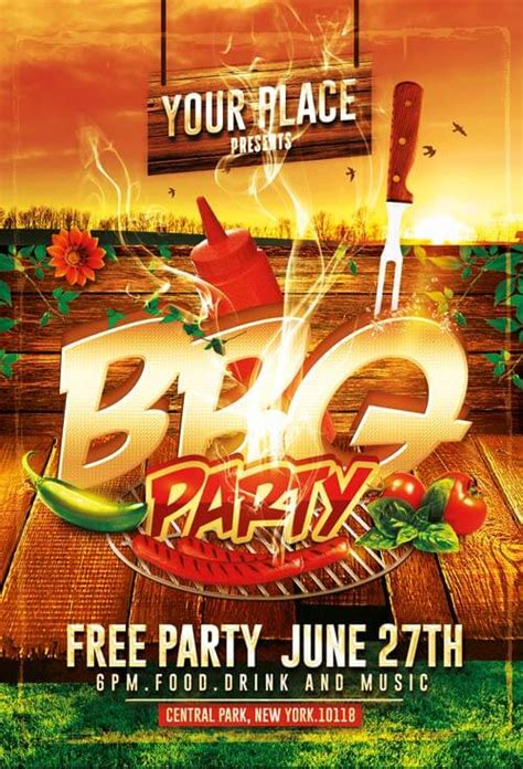 bbq party flyer templates psd  creativeflyers