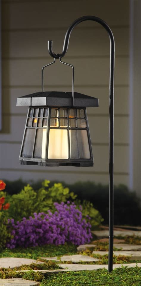 hanging solar garden candle lantern with hook