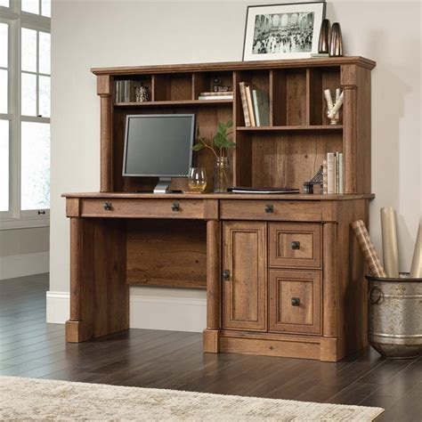 sauder palladia computer desk with hutch in vintage oak