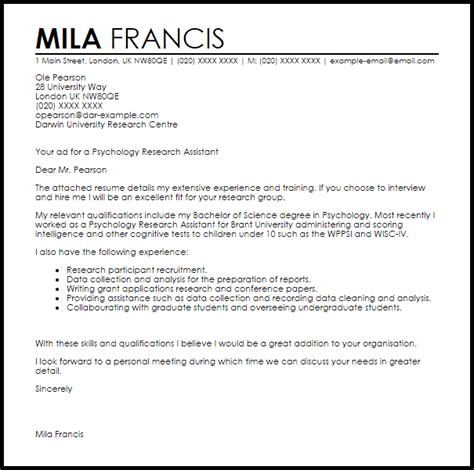 psychology research assistant cover letter sle livecareer