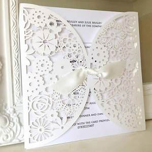 White pearl laser cut wedding invitation vous estes for Laser cut wedding invitations houston