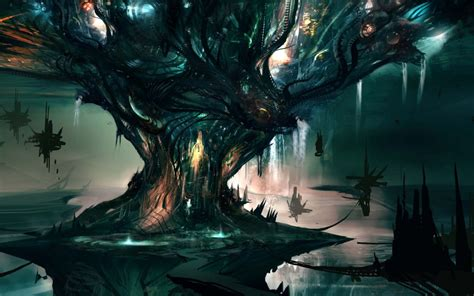 fantasy art sci fi landscapes magic trees house islands