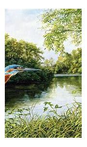 Kingfisher Flight Green Trees, Grass River Art On Canvas ...