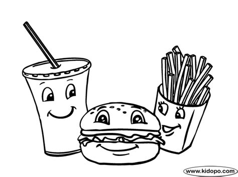 Burger Fries And Drink Coloring Page