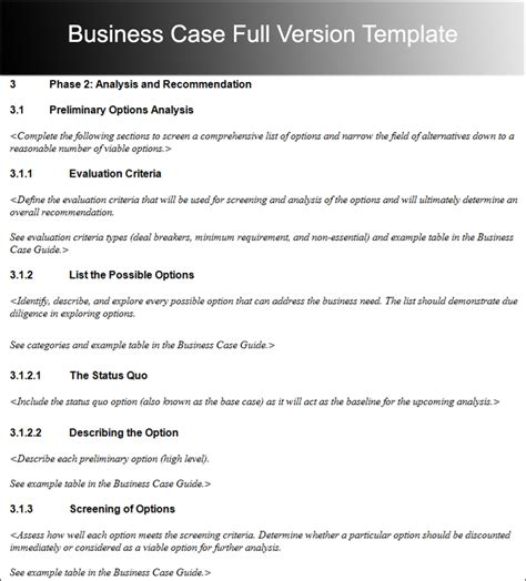 business case template  word  excel  formats