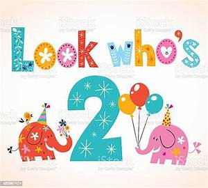 Look, Whos, Two, Second, Birthday, Card, Stock, Illustration