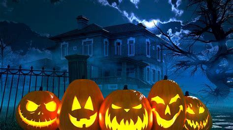 haunted house  pumpkins  fence hd happy halloween