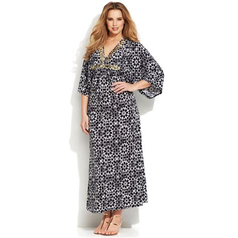 sleeve printed maxi dress lyst michael kors michael plus size three quarter sleeve