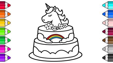 unicorn cake drawing  coloring pages  kids youtube