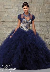 two tone satin and ruffled tulle with contrasting beaded With robe bleu foncé