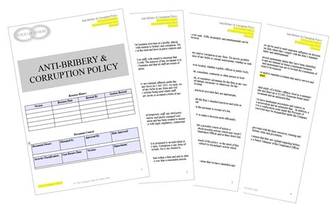 anti corruption and bribery policy template conflicts of interest policy your compliance