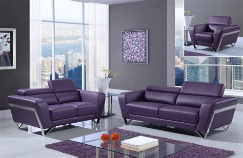 Purple Contemporary Sofa by Purple Modern Bonded Leather Sofa Set With Chrome Legs