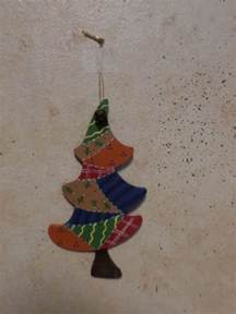 hand painted wooden christmas tree ornament with rusty bell ebay