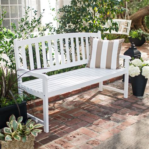 Wood Porch Bench - coral coast pleasant bay curved slat back outdoor wood