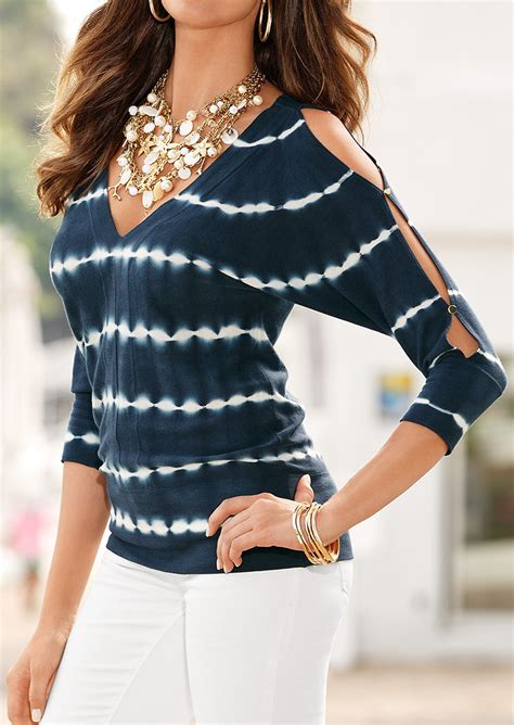 tie dye blouse tie dye hollow out v neck blouse without necklace