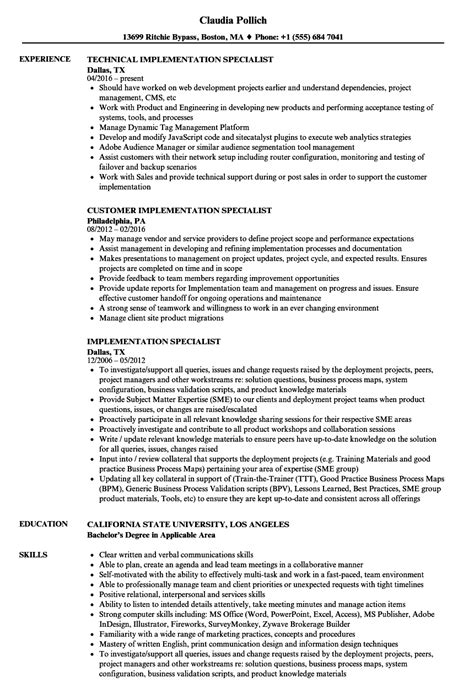 Implementation Consultant Resume by Implementation Specialist Resume Sles Velvet