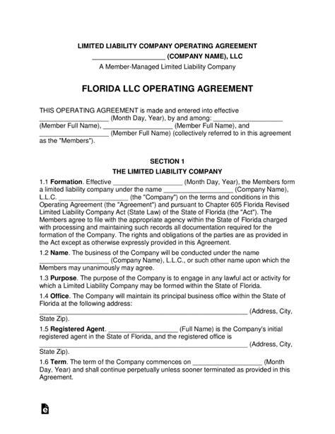 florida multi member llc operating agreement form eforms