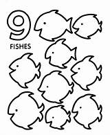 Counting Objects Activity Pages Sheet Nine Numbers Count Fishes Coloring Number Printable Sheets Preschool Honkingdonkey Printables Directions Learning sketch template