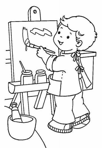 Coloring Pages Kindergarten Painter Kid Paint Colouring