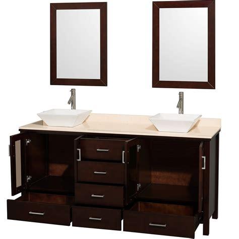 double vessel sink vanity lucy 72 quot double bathroom vanity set with vessel sinks