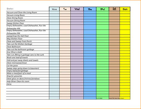 excel chore chart authorization letter