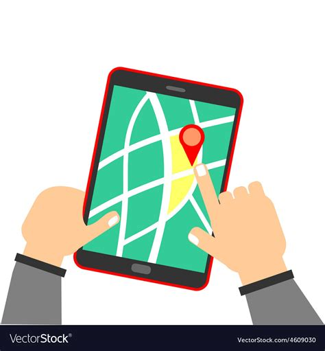 human hand holding tablet  map royalty  vector image