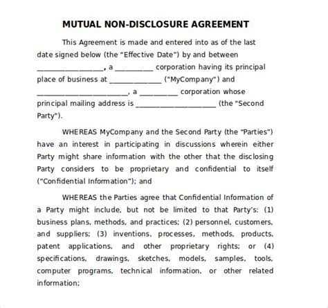 Free Non Disclosure Agreement Template by 19 Word Non Disclosure Agreement Templates Free
