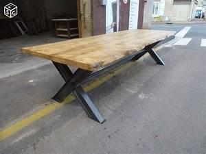 table de salle a manger fer bois ecorce brut 3 m bois With meuble salle À manger avec table a manger 3 metres