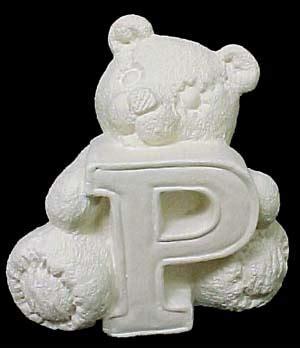 Alphabet Bear P   Emeraldz Fine Ceramic Bisque