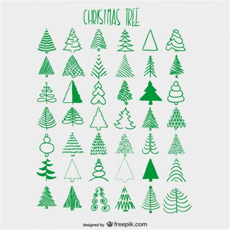 christmas trees sketches collection vector free download