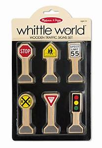 Melissa Doug Whittle World Wooden Traffic Signs Play