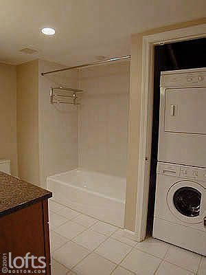 bathroom remodel  stackable washer dryer boston