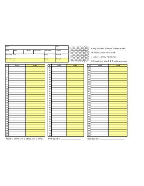 simple chess score sheet