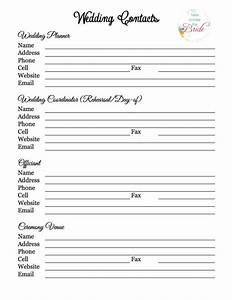 wedding planning vendor contact list wedding planning With wedding vendor checklist template