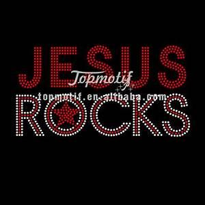 wholesale rhinestone motif jesus rocks hotfix rhinestone With rhinestone template material wholesale