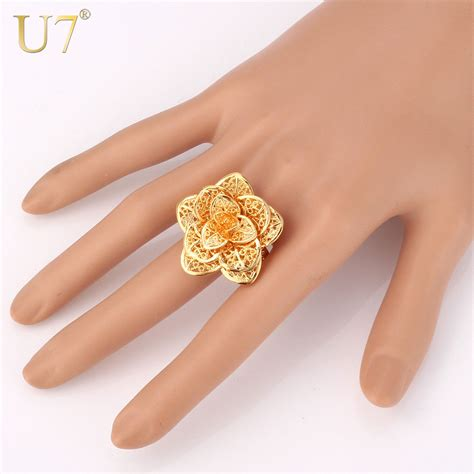 aliexpress buy u7 classic fashion wedding band rings aliexpress buy u7 brand big flower ring gold color