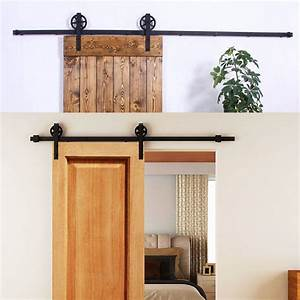8ft sliding barn door track only hardware easy With barn door track only